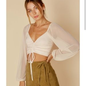 Rouched Cream Top